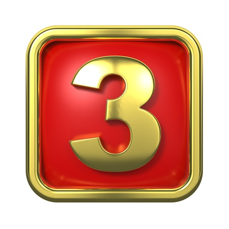 goldbars: Gold Numbers in Frame, on Red Background - Number 3 Stock Photo