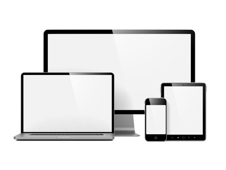 Modern Electronic Devices with Blank Screens  Isolated on White  photo
