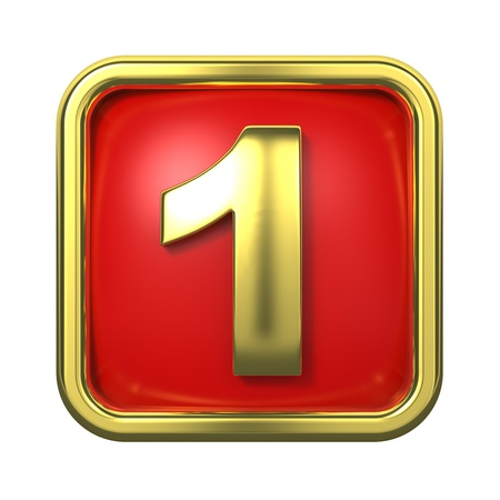 goldbars: Gold Numbers in Frame, on Red Background - Number 1