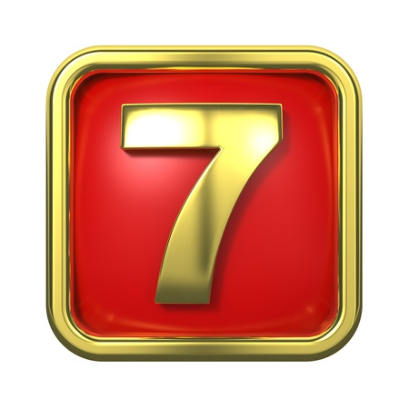 goldbars: Gold Numbers in Frame, on Red Background - Number 7