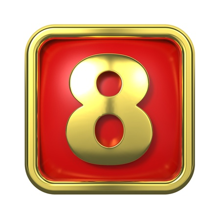 Gold Numbers in Frame, on Red Background - Number 8 Stock Photo - 16117877