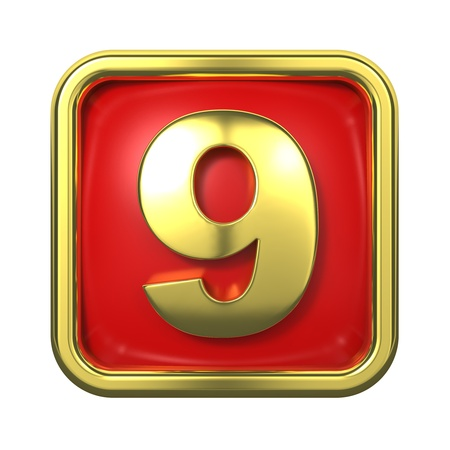 Gold Numbers in Frame, on Red Background - Number 9 Stock Photo - 16117882