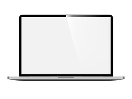 silver screen: Laptop with Blank Screen  Front View on White Background