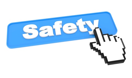 secret identities: Safety Button with Hand Shaped Cursor on White Background