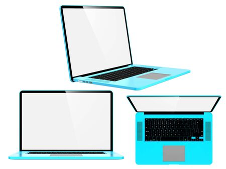 Set of Blue Modern Laptops  Isolated on White  Stock Photo - 16118045