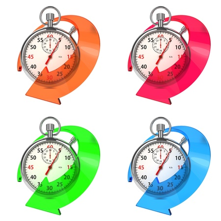 metering: Stopwatch with Colored Arrow  Set from Six Images on White Background