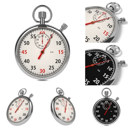 Stopwatch Set from Six Images on White Background Stock Photo - 16219317