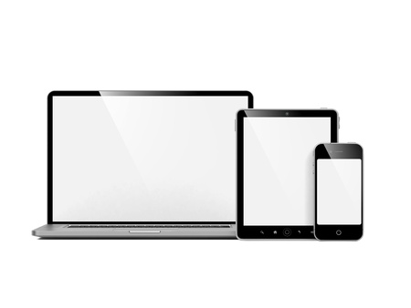 Computer, Laptop and Phone  Set of Computer Devices on White  photo
