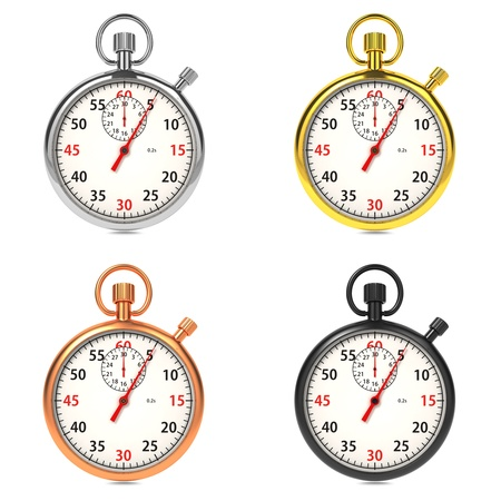Stopwatch with White Dial on White Background Stock Photo - 16219315