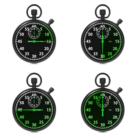 Stopwatch - Green Timers  Set on White Background  photo