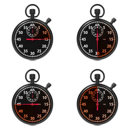Stopwatch - Red Timers  Set on White Background Stock Photo - 16219313