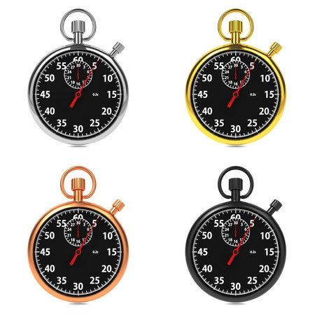 Stopwatch with Black Dial on White Background Stock Photo - 16219318
