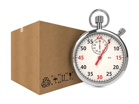 rapidity: Stopwatch Over a Carton Boxes  Express Delivery Concept