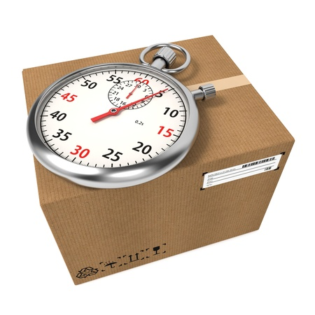 delivery service: Stopwatch Over a Carton Boxes  Express Delivery Concept