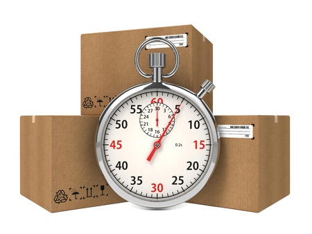 packaging move: Stopwatch Over a Carton Boxes  Express Delivery Concept