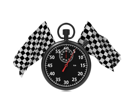 Checkered flag with Stopwatch  Start - Finish Concept  Stock Photo - 16374307