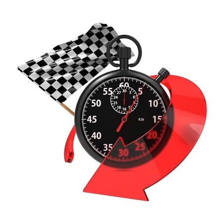 schwarz weiss kariert: Checkered Flag mit Stoppuhr und Pfeil Start - Finish Konzept