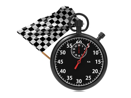 Stopwatch with checkered flag  Start - finish Stock Photo - 16374308