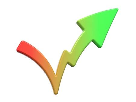 Check Mark Symbolizing Increase  Isolated on White Background Stock Photo - 16374311