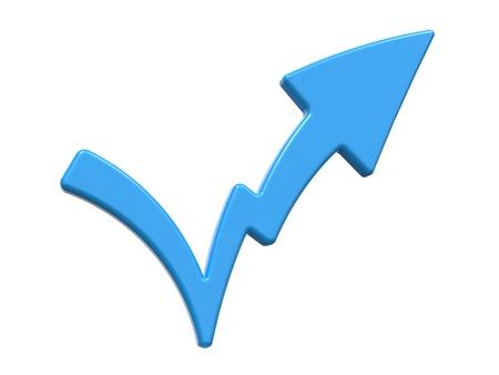 Check Mark Symbolizing Increase  Isolated on White Background Stock Photo - 16374313