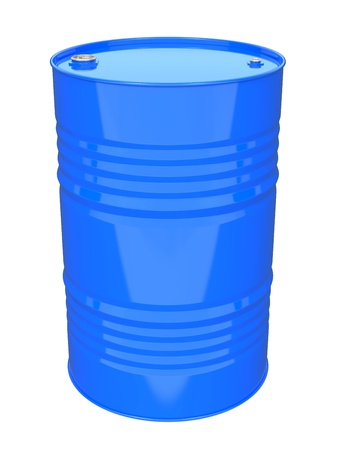 Blue Industrial Barrel  Isolated on white  photo