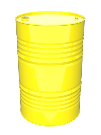 Yellow Industrial Barrel  Isolated on white  photo