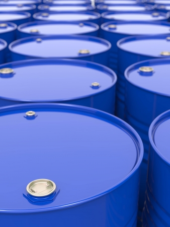 commodities: Industrial Background with Blue Barrels