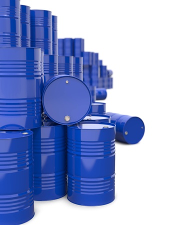 Heap of Blue Metal Oil Barrels  Industrial Background  photo