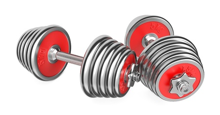 Two Iron Dumbbells Isolated on White Background  3d photo