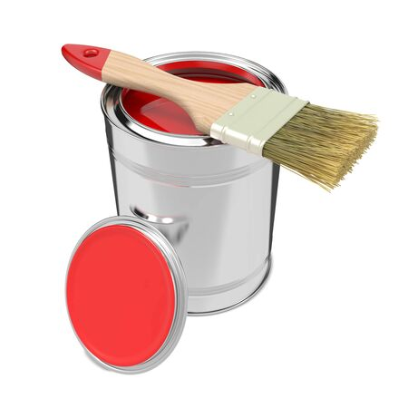 Paint Can with Red Paint and Paintbrush  Isolated on White  photo