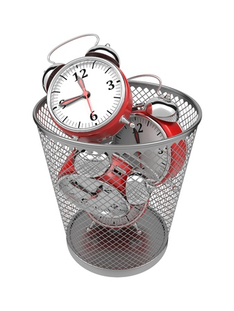 Wasting Time Concept  Red Clocks in Metal Trash Bin  photo