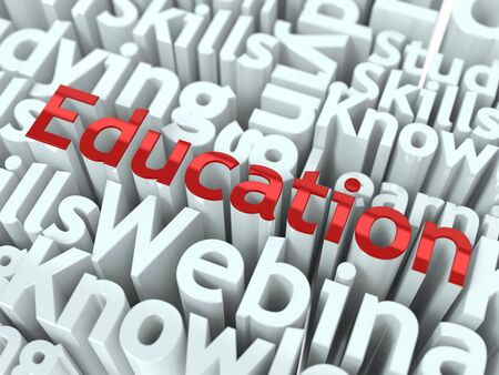 Education Concept  Word  Education  of Red Color Located on other Gray Words