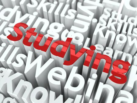 Studying Concept  Word  Studying  of Red Color Located on other Gray Words Stock Photo - 16836569