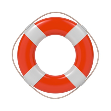 diving save: Red Lifebuoy with White Strips and Rope  Isolated on white  Stock Photo