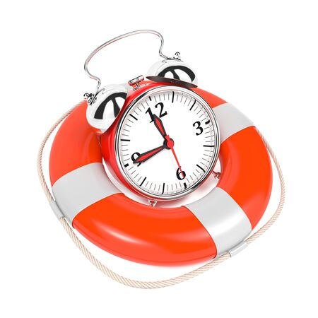 prioritizing: Alarmclock in Lifebuoy on White Background  Save the time concept