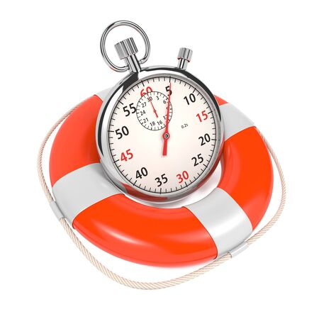 scheduling: StopWatch in Lifebuoy on White Background  Save the time concept  Stock Photo