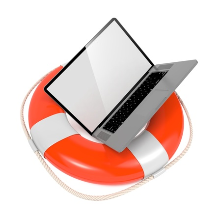 Laptop in Lifebuoy Isolated on White  Support and Service Concept  photo