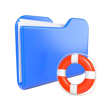 Blue Folder with Toon Lifebuoy  Isolated on White  photo