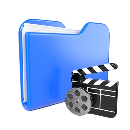 Blue Folder with Toon Clapper and Reel  Isolated on White  photo