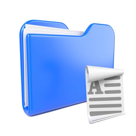 Blue Folder with Toon File Icon  Isolated on White  photo