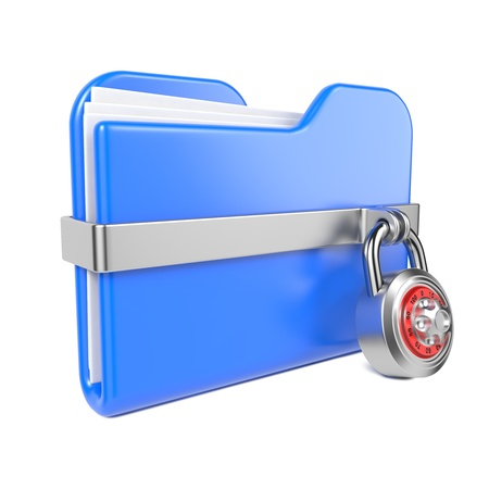 Blue Folder with Toon Padlock  Isolated on White  photo