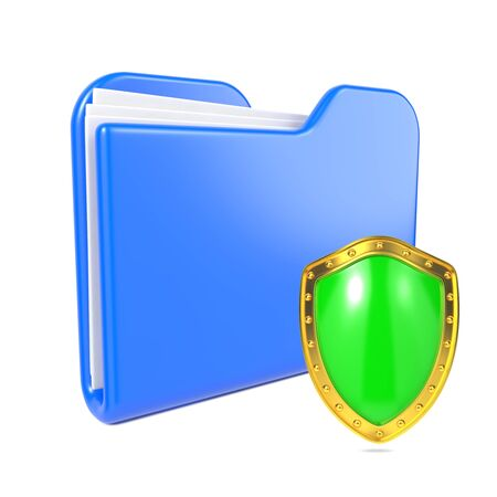Blue Folder with Green Shield  Isolated on White  photo
