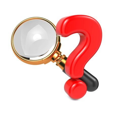 Magnifying Glass with Gold Border and Question Mark  Isolated on White Stock Photo - 17236377