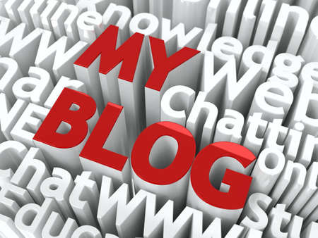 My Blog Words of Red Color, Located Against of other Words of White Color  Фото со стока