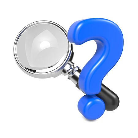 Magnifying Glass with Silver Border and Question Mark  Isolated on White Stock Photo - 17236403