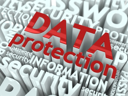 protection concept: Data Protection Concept  Inscription of Red Color Located over Text of White Color