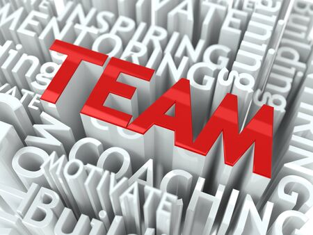 team building: Team Building Concept  Inscription of Red Color Located over Text of White Color