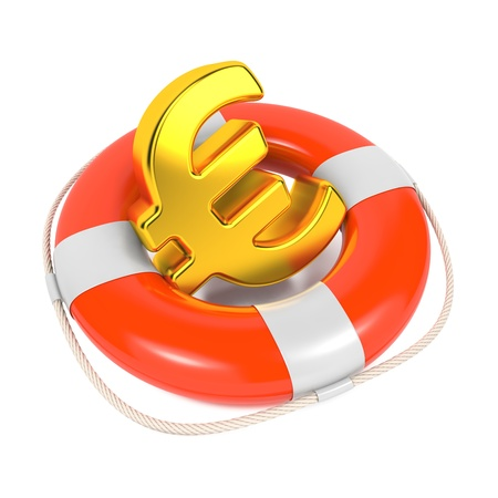 Euro Sign in Red Lifebuoy  Business Background Isolated on White  photo