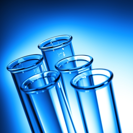 Test Tube Close up  Row of Test Tubes in Blue Tone - Medical Background  photo