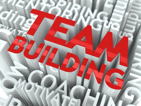 Team Building Concept  The Word of Red Color Located over Text of White Color  photo